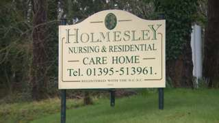 Holmesley Care Home sign, Sidmouth