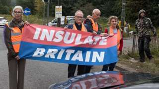 Insulate Britain activists block a junction