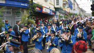 Band marches through Helston streets