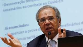 O ministro da Economia, Paulo Guedes, durante entrevista coletiva em Brasília
