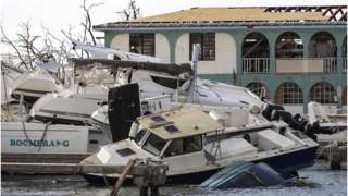 Destruction in British Virgin Islands left by Hurricane Irma on 10 September 2017.