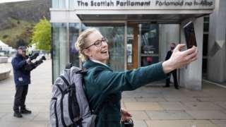 Lorna Slater outside Scottish Parliament