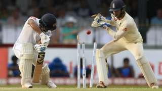 Sri Lanka batsman Dimuth Karunaratne is bowled by Moeen Ali on day three of the third Test against England