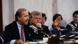Senators Joseph Biden and Ted Kennedy attend the Clarence Thomas confirmation hearings