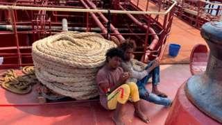 Two migrants on board the oil tanker Maersk Etienne
