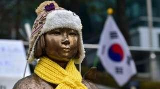 """Patung """"budak seks"""" di luar kedutaan besar Jepang di Seoul."""