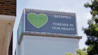 Grenfell Tower is pictured in west London on June 14, 2021, four years after a fire in the residential tower block killed 72 people.