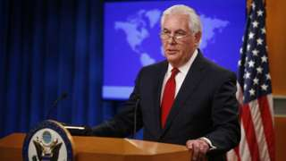 US Secretary of State Rex Tillerson speaks to the media after being fired by President Trump
