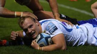 Stu Townsend celebrates Exeter's first try