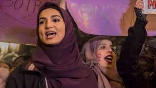 Women demonstrate on International Women's Day 2019