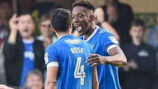 Jamal Lowe scores for Portsmouth against Yeovil