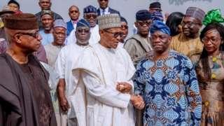 Aarẹ Muhammadu Buhari, Kola Abiola ati awọ̀n eekan ilu miran lati ipinlẹ́ Ogun