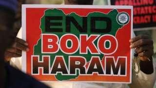 A man in Nigeria protesting against Boko Haram