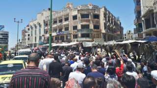 Photo provided by news outlet Suwayda24 showing anti-government protest in the city of Suweida on 9 June 2020