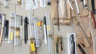 Pictures of weapons seized