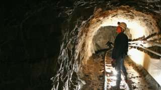 Inspecting the mine in 2008
