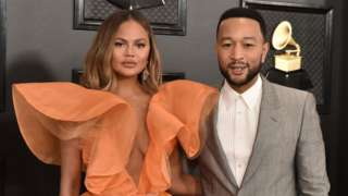 Chrissy Teigen and John Legend at the Grammy Awards in January 2020