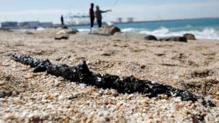 Ashdod in Israel - tar from a suspected oil spill 21 February 2021