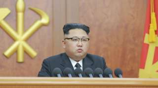 North Korean leader Kim Jong-un gives a New Year address for 2017 in this undated picture provided by KCNA in Pyongyang on 1 January 2017.