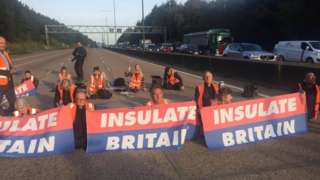 Insulate Britain protesters on the road