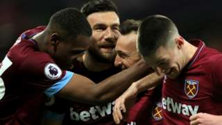 West Ham celebrate scoring against Newcastle