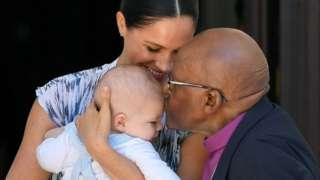 The Duchess of Sussex and baby son Archie meet Archbishop Desmond Tutu