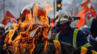 Thousands of firefighters participate in a demonstration against the pension reforms and for better work conditions in Paris, France, 28 January 2020