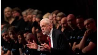 Jeremy Corbyn addressing the Labour conference in Brighton