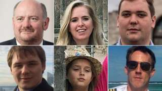 Richard Cousins, Emma Bowden, Will Cousins, Gareth Morgan, Heather Bowden, Ed Cousins (clockwise from top left)