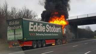 Eddie Stobart lorry on fire