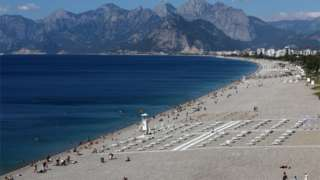 A general view of Konyaalti beach, amid the COVID-19 outbreak, in the southern resort city of Antalya, Turkey June 19, 2020