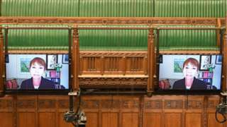 MP addresses Commons on a screen
