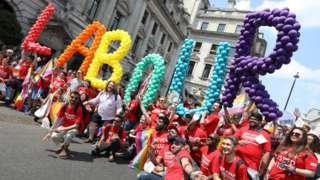Labour LGBT members take part in Pride 2018