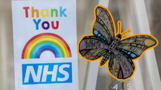 An NHS rainbow and one of the butterflies