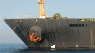 Grace 1 supertanker sitting in the Strait of Gibraltar