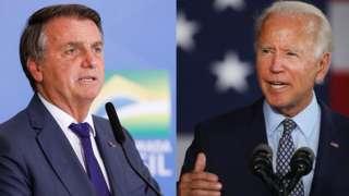 Montagem com fotos de Bolsonaro e Biden lado a lado