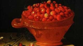 Cuenco de fresas sobre un pedestal de piedra. Pintado por Adriaen Coorte (activo c. 1683-1707).