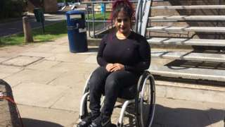 Doaa Shayea in her wheelchair