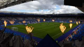 Inside the stadium between Leicester City and Brighton and Hove Albion
