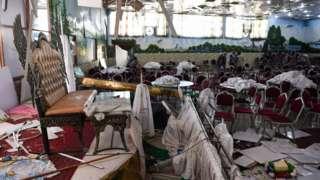 019年喀布爾一個婚禮現場遭遇襲擊後的情景。