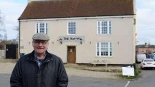 Roger Frere outside pub