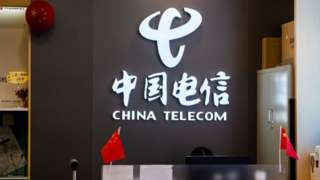 China Telecom sign with Chinese flags
