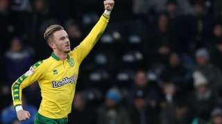 James Maddison celebrates scoring for Norwich City against Derby