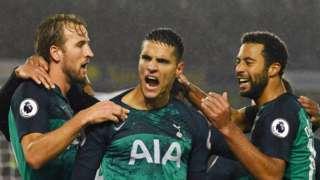 Erik Lamela celebrates scoring for Tottenham against Brighton