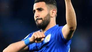 Riyad Mahrez waves to fans at the final whistle
