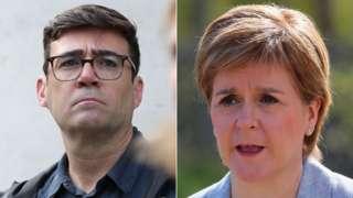 Composite of Andy Burnham and Nicola Sturgeon