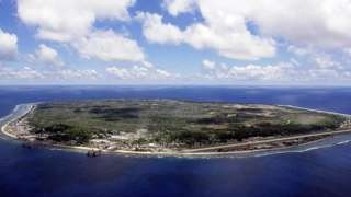 An aerial image showing the small Pacific island Nauru