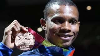 Bronze medallist Ecuador's Alex Quinonez poses on the podium during the medal ceremony for the Men's 200m in 2019