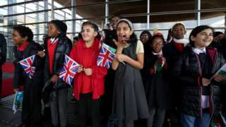 Pupils from Mount Stuart Primary School greeted the royal party