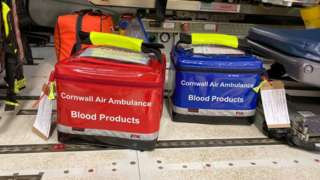 Bags of blood in Cornwall Air Ambulance